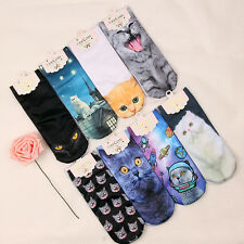 1 pair 3D Fashion Cat Seires Printed Cartoon Casual Socks Low Cut Ankle Socks