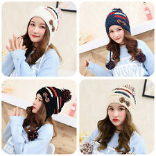 4 Colors Cute Women Knitted Hat With Thick Yarn Knitted Ball Winter Ear Cap WG