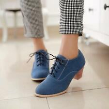 New Womens shoes Block heels oxfords brouge Shoes Hot Stylish Retro Casual Sz