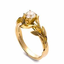 Leaves Engagement Ring, 14K Yellow Gold, Solid Gold, Diamond Ring, Real Diamond