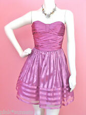 Betsey Johnson Purple Evening Strapless Striped Organza Teen Vogue Dress 4 10