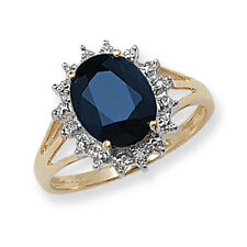 Sapphire and Diamond Ring Large Sapphire Ring Yellow Gold Cluster Ring Size R-Z