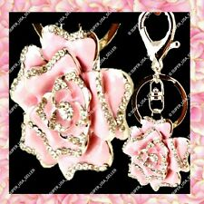 Rhinestone Crystal Pink Rose Floral Purse Charms Keychains Bling Accessories lot