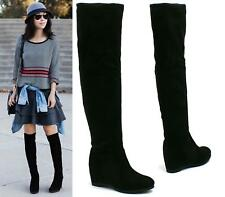 WOMENS LADES WEDGE THIGH OVER THE KNEE HIGH BOOTS MID HEEL PULL ON STRETCH SIZE