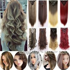 Remy Extra Thick Clip In Hair Extensions 8 Piece Full Head Brown Blonde Gray fo7