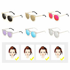 Women's Double Metal Frame with Arrow Colorful Round Lens UV400 Sunglasses F5