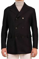 BELVEST Hand Made In Italy Navy Blue Wool Double Breasted Pea Coat NEW Slim