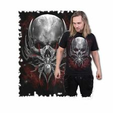 Spiral Spider Skull T-Shirt Emo Gothic Arachnid Alternative