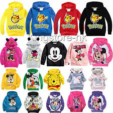 Cute Mickey Cartoon Print Hoodies Kids Boys Girls Pullover Sweatshirt Tops 1-9Y