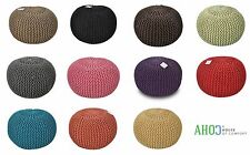 LARGE 50CM HANDMADE CHUNKY KNIT KNITTED POUFFE FOOT STOOL CUSHION MOROCCAN POUF