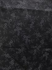 Gray Flowers Leaves Floral Black Background Cotton BY YARD / HALF YARD