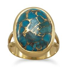 Women's Gold Plated 925 Sterling Silver Copper Infused Turquoise Ring Size 6-10