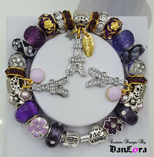 """ I Dream of Paris"" Purple Authentic Pandora Sterling Silver Chain w/ Charm/Bead"