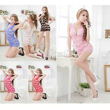 Sexy Women's Lingerie Crotchet Mesh Hollow-out Chemise Robes Babydoll Mini Dress