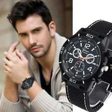 Geneva Fashion Mens Analog Silicone Analog Quartz Sport Military Wrist Watches