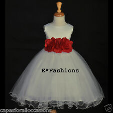 GORGEOUS IVORY NEW FLOWER GIRL DRESS MULTI COLORS CHOICE 12 months 2 4 6 8 10 12