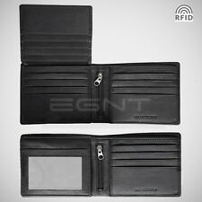 EGNT Trifold Wallet RFID BLACK GENUINE LEATHER LUXURY BIFOLD SLIM MENS ID NEW