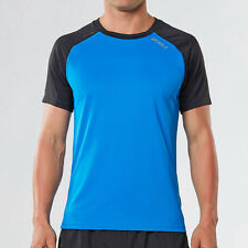 2XU Tech Vent Mens Blue Black Short Sleeve Crew Neck Running T Shirt Tee Top