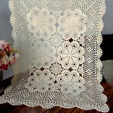 New 31-98 Inch Rectangle Cotton Handmade Crochet Lace Tablecloth Doilies F01