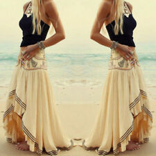 Boho Hippie Women's Chiffon Irregular Summer Long Maxi Skirt Beach Casual Dress
