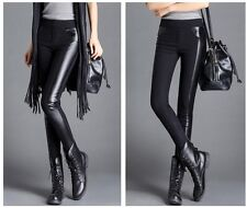 Fashion Womens Pencil Slim Fit Black Pants Leggings Synthetic Leather Trousers