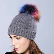 Women Colorful Real Raccoon Fur Pom Ball Bobble Knit Ski Hat Warm Xmas Cap