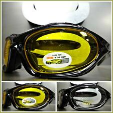 Mens MOTORCYCLE BIKER RIDING DRIVING SAFETY Day Night PADDED SUN GLASSES GOGGLES