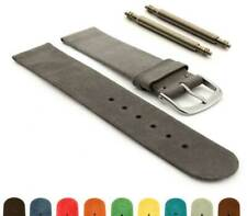 Suede Genuine Leather Watch Strap Band Malaga Stainless Steel Buckle and Pins