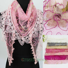 Women's Bead Lines Embroidery Flowers Thin Lace Gauze Tassel Triangle Scarf New