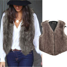 Women Winter Vest Sleeveless Coat Outerwear Faux Fur Long Jacket Waistcoat Vogue
