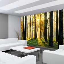 "Fleece Photo Wallpaper ""Sunlight Forest II"" ! Trees Sunbeams green Ru"