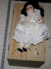Vintage Girl Doll with Wood Wardrobe Closet & 4 Extra Hanging Change of Clothes