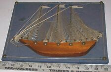 OLDER WOOD HALF HULL BOAT SAILING SHIP MODEL, HAND-MADE?