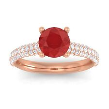 Red Ruby Sparkling FG SI Diamonds Solitaire Gemstone Ring Women 10K Gold