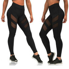 Womens Mesh Panels Stretchy Workout Sports Gym Yoga Leggings Ninth Pants YG
