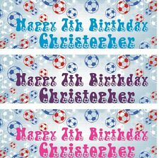 2 x PERSONALISED BIRTHDAY BANNER FOOTBALL 1st 18th 21st 30th 40th-any name age