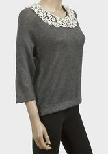 Amichi grey loose knit jumper with crochet effect coller