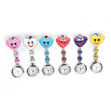 Smile Face Heart Clip-on Nurse Doctor Brooch Pendant Fob Pocket Quartz Watch LQ
