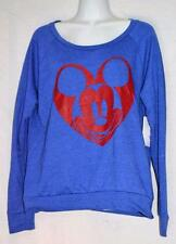 Disney Mickey Mouse Heart Blue Long Sleeve Tee - Juniors Size NWT