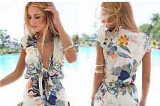Rompers Womens Jumpsuits Summer Ladies Red Sexy Deep V Neck Short Sleeve Floral