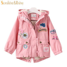 Winter Fashion Girls Embroidered Jacket Flower Patch Cartoon Coats & Jackets