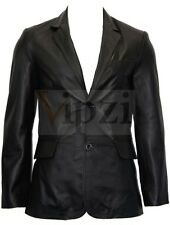 Men's 2 Button Blazer Black Long Lapel Tailored Fit Sheep Leather Jacket Coat