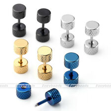 Pair Stainless Steel Classic Fake Plug Bar Barbell Ear Stud Earrings Stretcher
