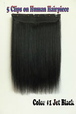 80g One Hairpiece 5Clips On Real Human Hair Clip In Hair Extensions Full Head