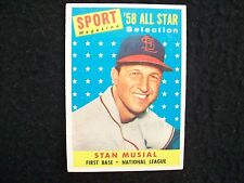 1958 Topps #476 Stan Musial All-Star Card, No Creases, VG-EX, His 1st Topps Card