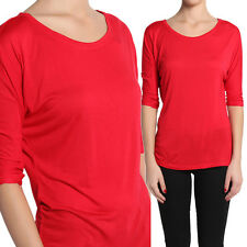 TheMogan Draped Jersey Boat Neck Top Plain Solid Dolman 3/4 Sleeve T-Shirts Tee