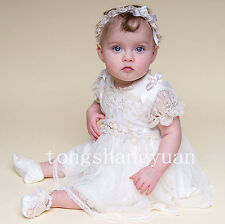 Handmade Flowers Baptism Gowns Lace Applique Christening Dresses + Bonnet Newest