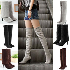 Fad Women's Sexy Block Over Knee High Heel Winter Slouch Long Thigh Boots Shoes