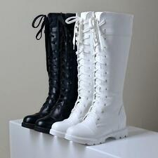 Shoes Womens Lace Up Knee High Biker Boots Shoes SZ New Fashion Casual Roman