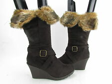 New XOXO Footwear Olivia Zip Up Wedge Mid Calf Boots MULTIPLE COLORS